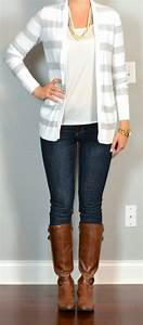 Outfit post grey striped sweater skinny jeans riding boots