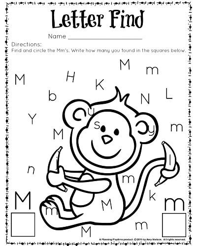 letter find worksheets with a freebie planning playtime 847 | Letter Find M BW