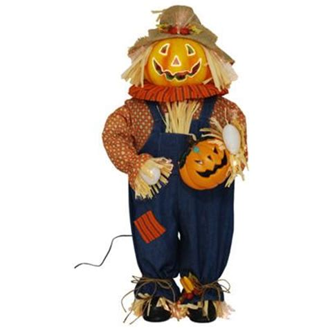 3 ft pumpkin fiber optic halloween scarecrow indoor