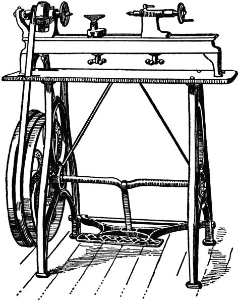 foot power wood working lathe clipart