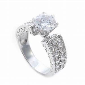 sterling silver micro pave round engagement ring saar0081 With micro pave wedding ring