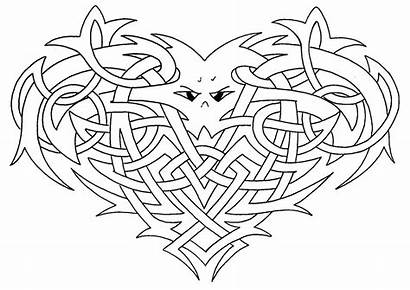 Celtic Coloring Heart Pages Knotwork Adult Drawing