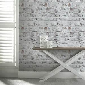 Papier peint trompe loeil pour une deco de style industriel for Kitchen cabinets lowes with papier peint imitation brique