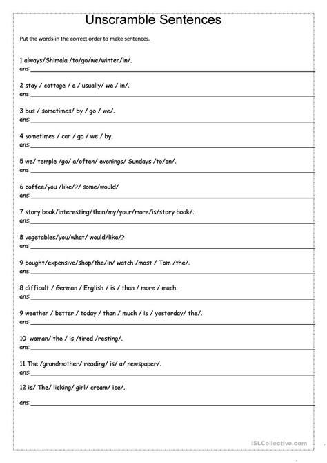 jumbled sentences worksheets  grade
