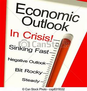 Clip Art of Economic Outlook In Crisis Monitor Showing ...