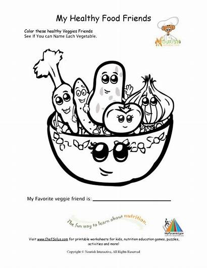 Coloring Healthy Nutrition Children Young Pages Printable