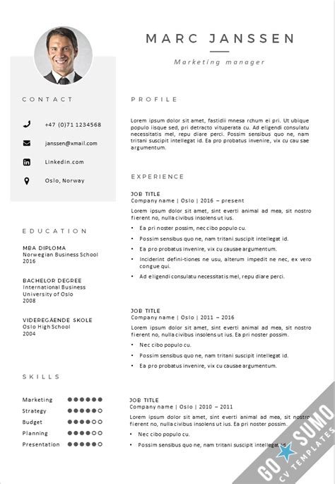 Cv Templates by Cv Template Oslo Go Sumo Cv Template