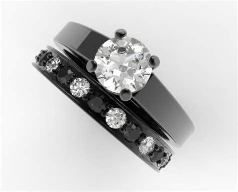 unique alternating black  white diamond wedding ring