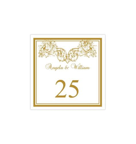 printable table number template vienna gold tent wedding