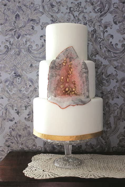geode cake tutorial fools gold  rose quartz food