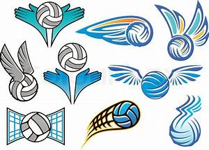Sporting volleyball emblems and designs with angel wings