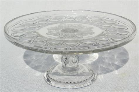 antique pressed glass cake stand pedestal plate