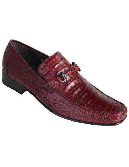 Los Altos Stylish Genuine Caiman Belly Burgundy Dress Shoes