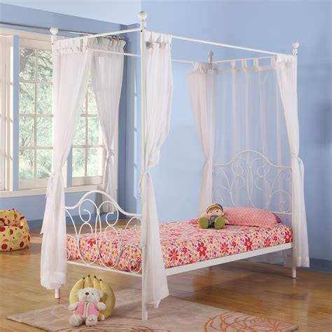 metal twin white canopy bed with curtains at hayneedle