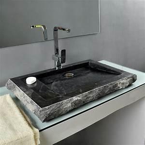 Waschbecken Zum Aufsetzen : marmor waschbecken kotak 76 cm schwarz ~ Markanthonyermac.com Haus und Dekorationen