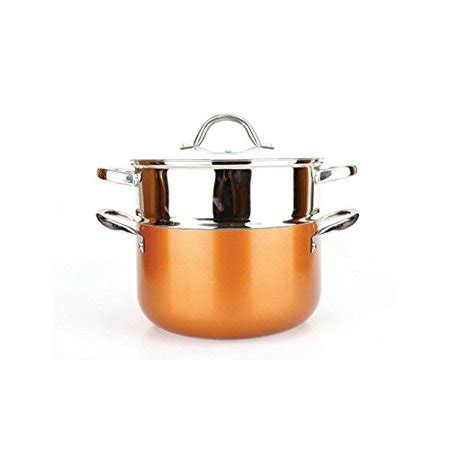 copper   pan  piece luxury induction cookware set  stick      inches