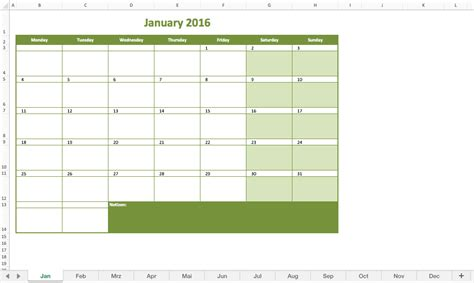 Schedule Template For Excel Monthly Calendar 2016 Excel Excel Templates For Every Purpose