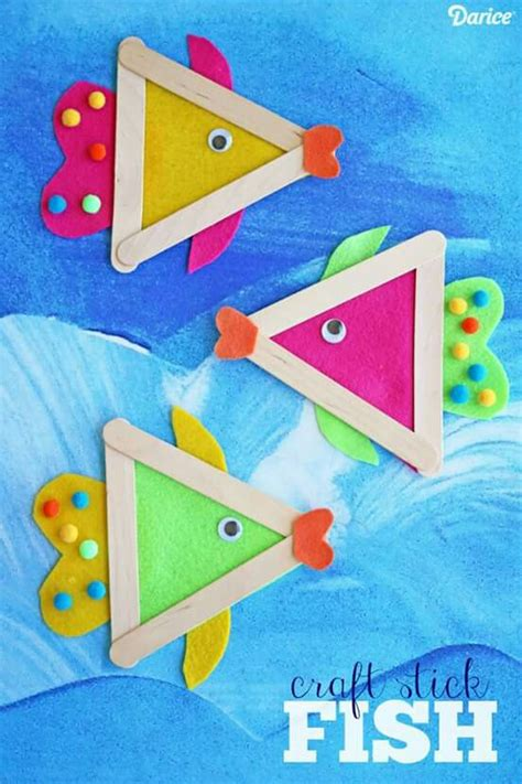 popsicle stick fish craft for summer craft 462 | 81342776def93b7d61dedc553e431a54