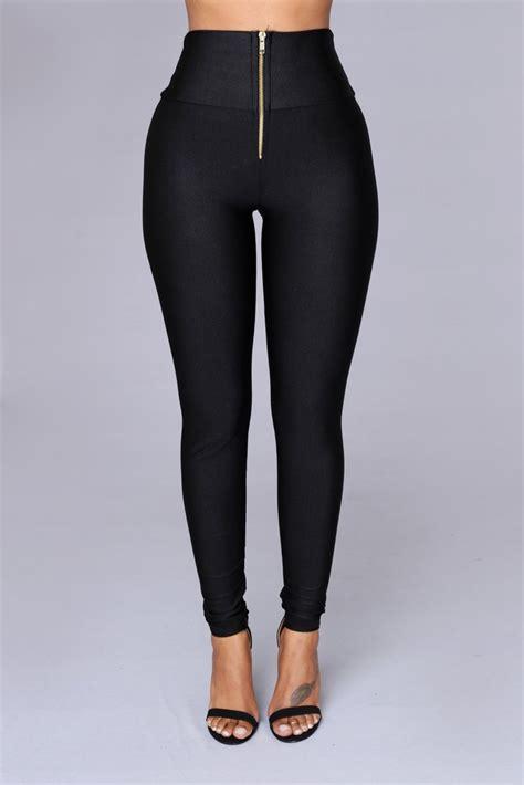Black Nylon High Waist Leggings - Black