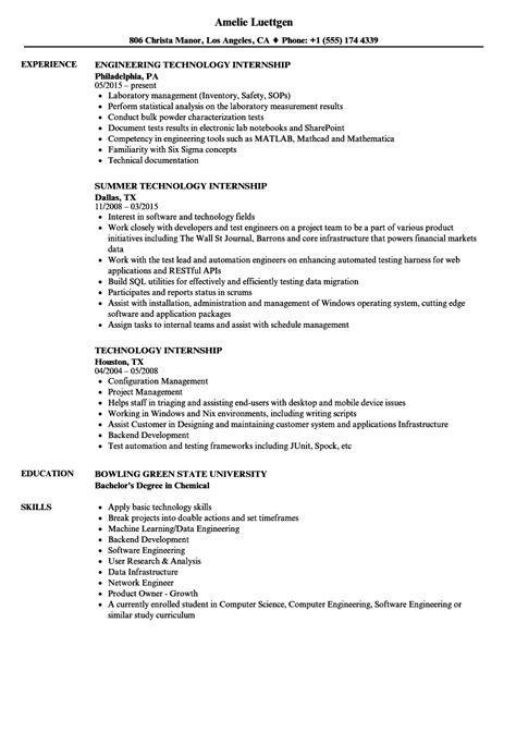 technology internship resume sles velvet