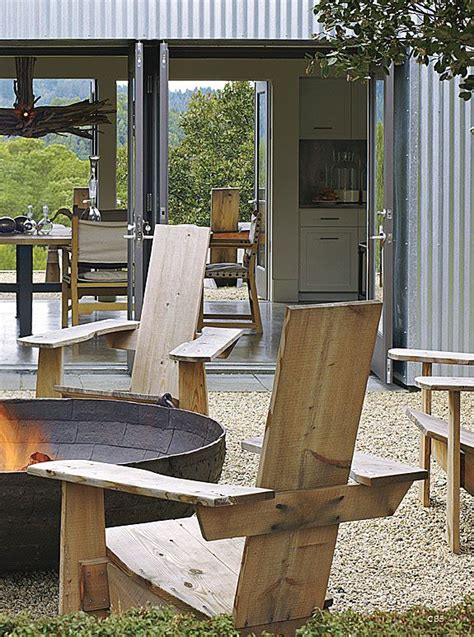 Fire Pit and Adirondack Chairs