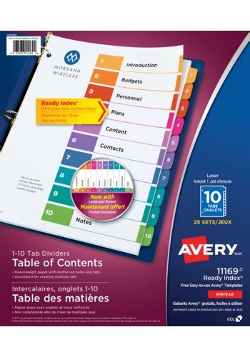 avery 25 tab table of contents template avery 11169 ready index table of content dividers 8