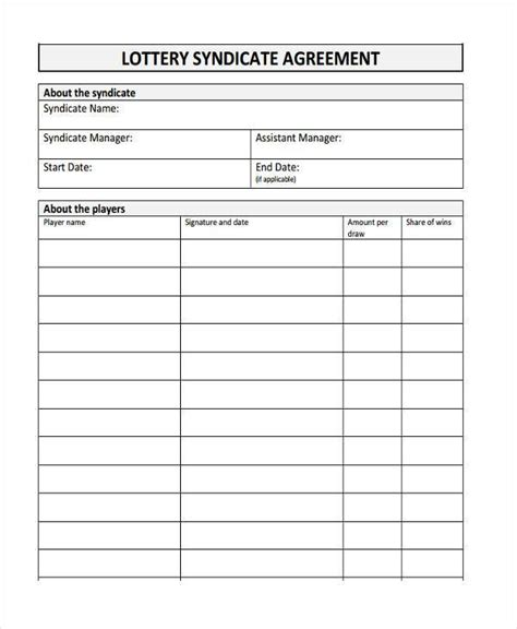 Lottery Contract Template by Sle Lottery Syndicate Agreement Forms 8 Free