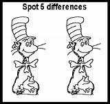 Activity Coloring Spot Pages Difference Seuss Dr Sheets Printable Sheet Activities Fun Differences Cat Hat Learning Drawing Same Suess Between sketch template