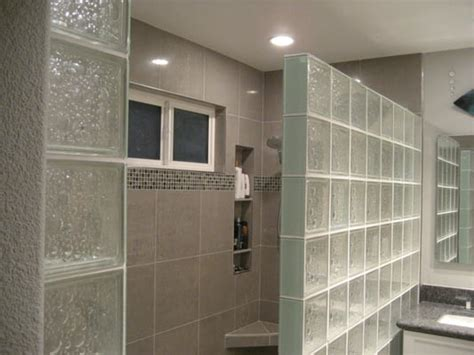 8x8 glass block shower wall and 16x16 polished porcelain