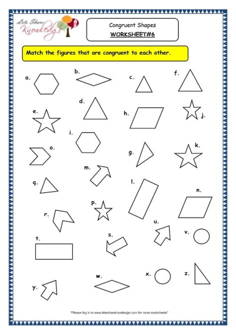 grade 3 maths worksheets 14 5 geometry congruent shapes