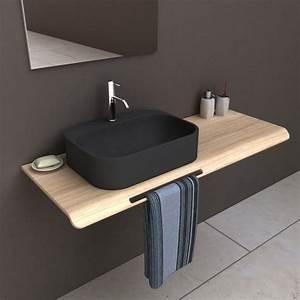 Plan De Toilette Bois : vasque poser r sine de synth se x cm noir pal ~ Dailycaller-alerts.com Idées de Décoration