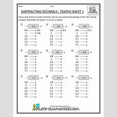 5th Grade Math Worksheets  5th Grade Math Worksheets Subtracting Decimals Tenths 1 Chitlins