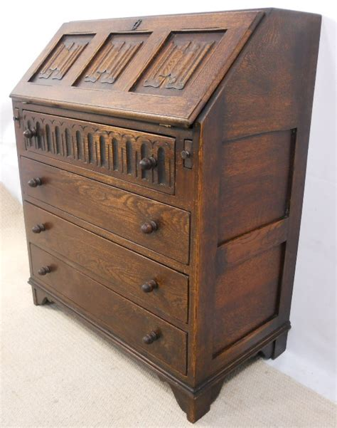 oak writing bureau uk sold oak linenfold fronted writing bureau desk