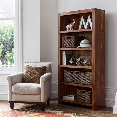 solid wood tall bookcase casa bella handcrafted sheesham