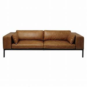 4 seater leather sofa in camel wellington maisons du monde With creme reparatrice canape cuir