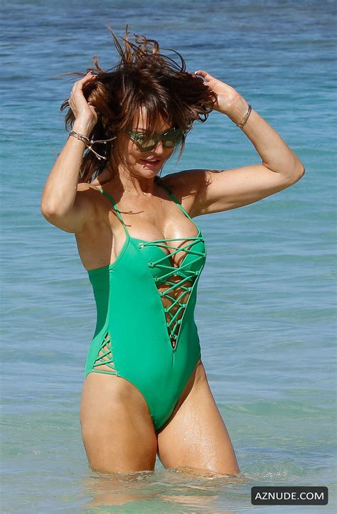 Lizzie Cundy Hot In A Bright Green One Piece Swimsuit On