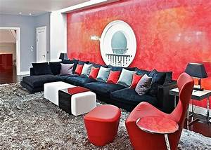 Red living rooms design ideas decorations photos for Black and red living room decor