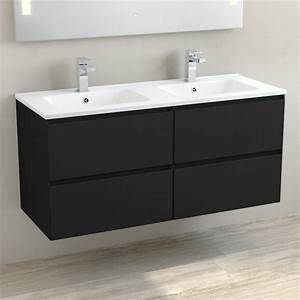 Double Vasque Noir : meuble double vasque c ramique 120 cm noir mat one ~ Teatrodelosmanantiales.com Idées de Décoration