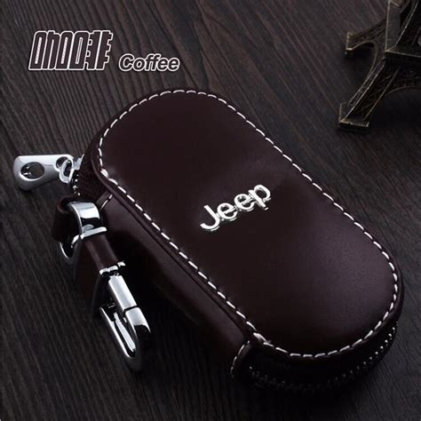 genuine leather car keychain key fob case cover  jeep