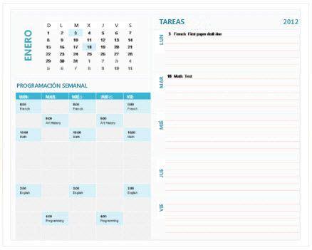 plantilla de calendario de planificacion semanal de