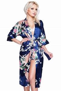Bademantel Damen Lang : damen morgenmantel kimono aus satin mit muster blau lang ~ Watch28wear.com Haus und Dekorationen