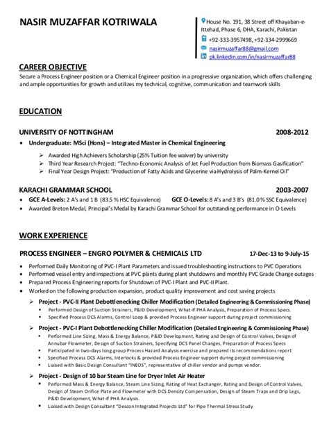 Process Engineering Resume Objective by Cv Nasir Muzaffar Chemical Eng
