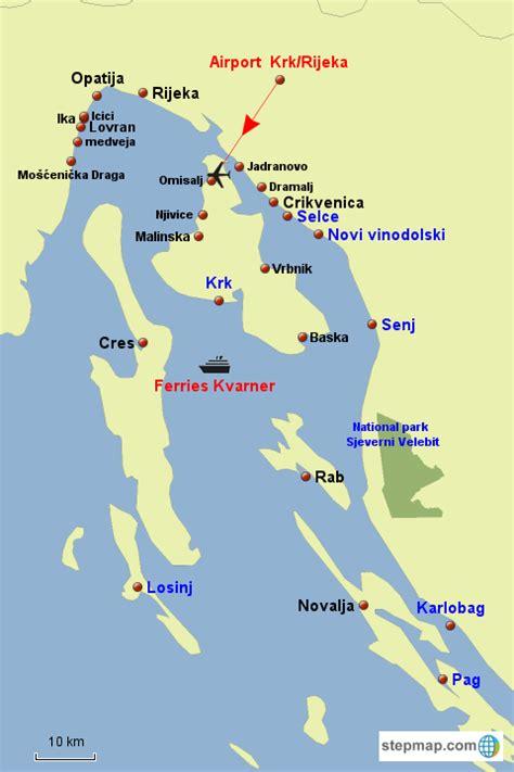 map kvarner holiday destinations  kvarner