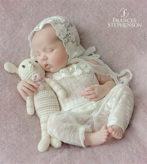 image  newborn romper venise lace lace bonnet photo