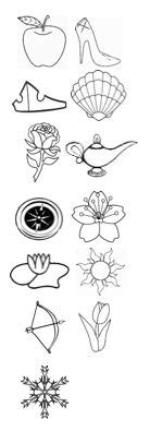 Disney Princess tattoo - symbol from each princess, chronological order - can add as new ones