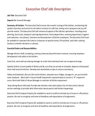 Kitchen Manager Work Description by Sle Executive Chef Description 17 Exles In