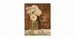 Mason jar white daisies country wedding keepsake wood wall