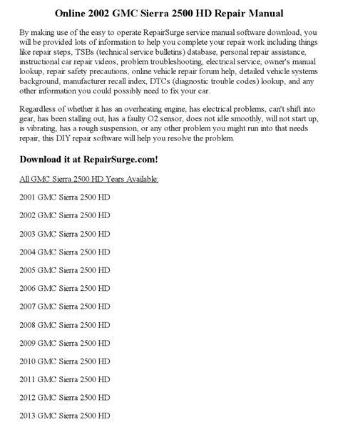 online car repair manuals free 2005 gmc sierra 1500 electronic throttle control 2002 gmc sierra 2500 hd repair manual online by parker issuu