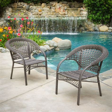 Outdoor Patio Chairs by Set Of 2 Outdoor Patio Furniture Grey All Weather Wicker