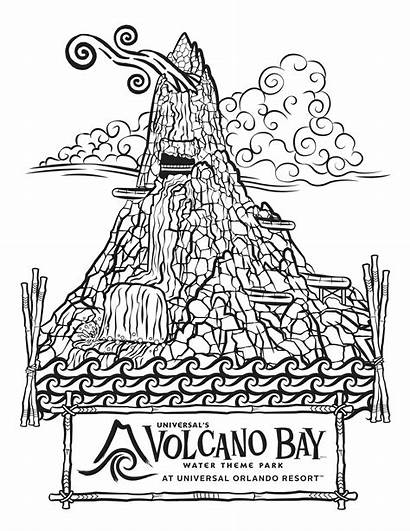 Coloring Volcano Pages Park Water Bay Universal
